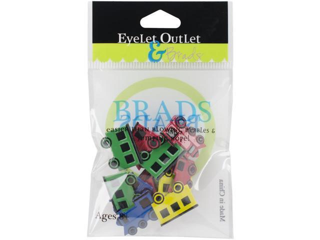 Eyelet Outlet Shape Brads 12/Pkg-Train Mix