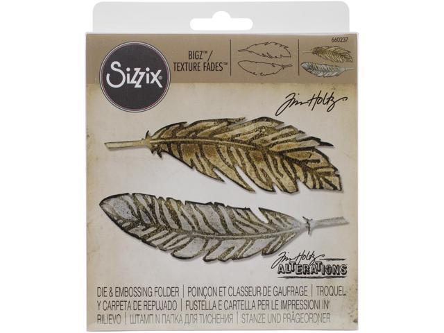 Sizzix Bigz Die W/A2 Texture Fades Folder By Tim Holtz-Feather Duo
