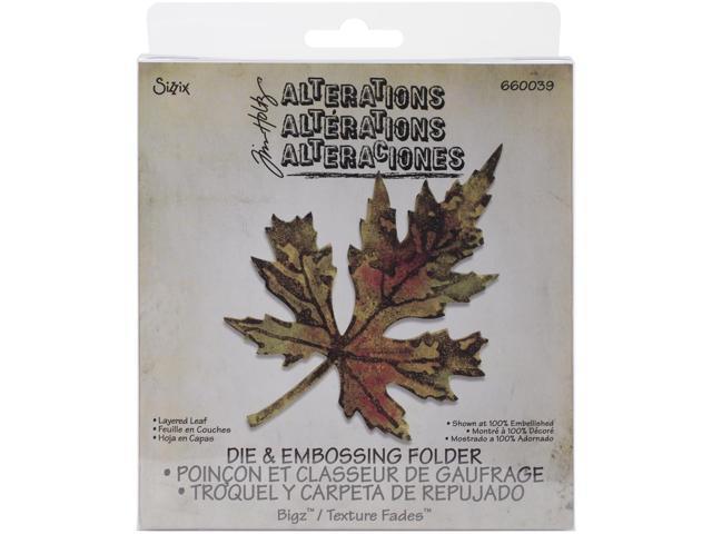 Sizzix Bigz Die W/A2 Texture Fades Folder By Tim Holtz-Layered Leaf