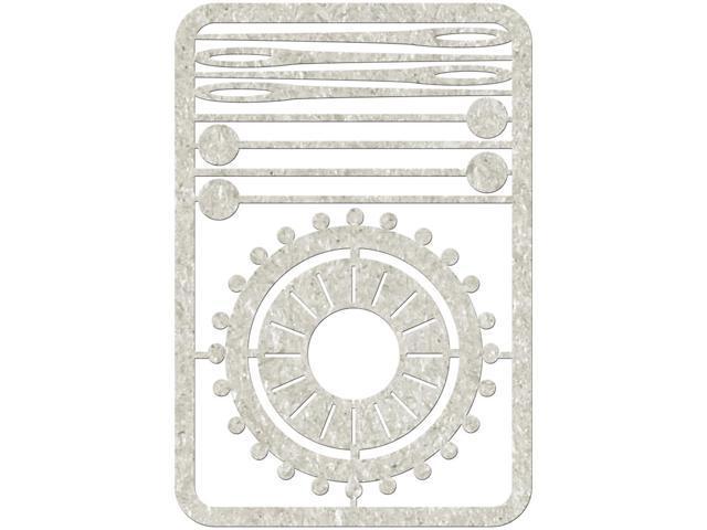 Die-Cut Gray Chipboard Embellishments-4 Pins, 4 Needles & Pin Wheel, 4.5