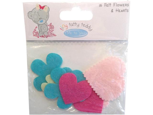 Tiny Tatty Teddy Laser-Cut Felt Flowers & Hearts 16/Pkg-Girl