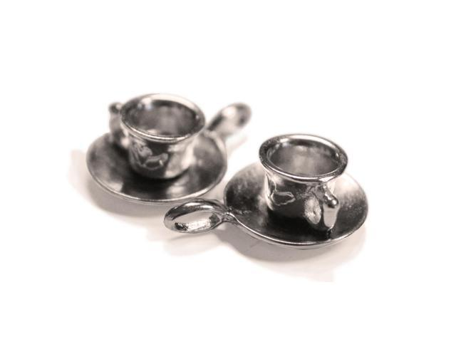 Silver Embellishments 15/Pkg-Cup W/Saucer