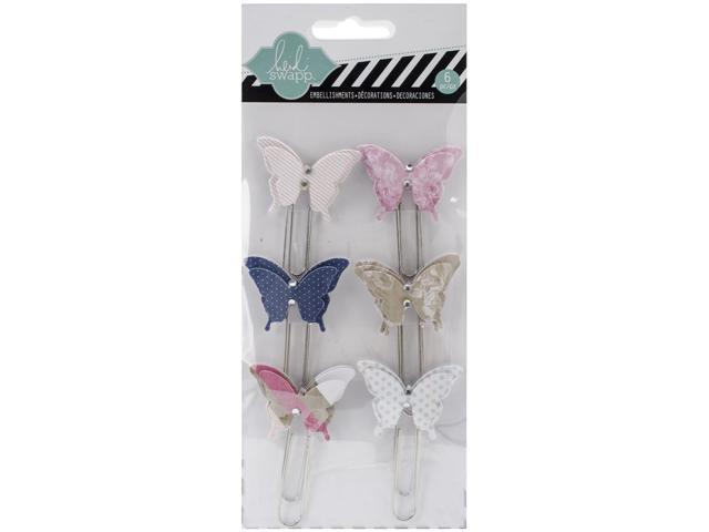 Hello Today Dimensional Butterfly Large Paper Clips 6/Pkg-W/Rhinestone Accents