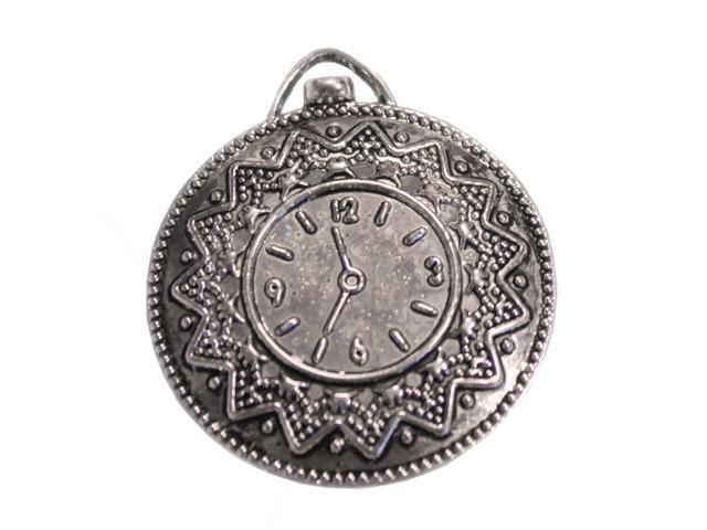 Silver Embellishments 10/Pkg-Vintage Clock