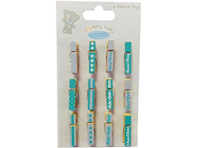 Tiny Tatty Teddy Mini Pegs Clothespins 12/Pkg-Boy