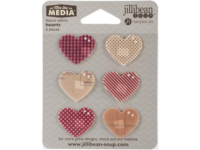 Mix The Media Vellum Die-Cuts 6/Pkg-Hearts