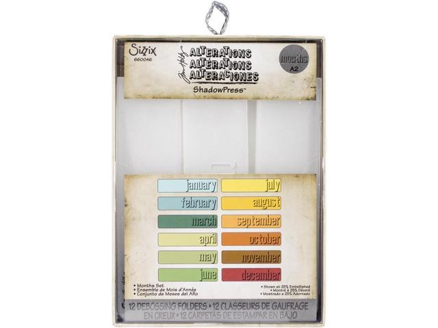 Sizzix Shadow Press A2 Debossing Folders 12/Pkg-Months By Tim Holtz