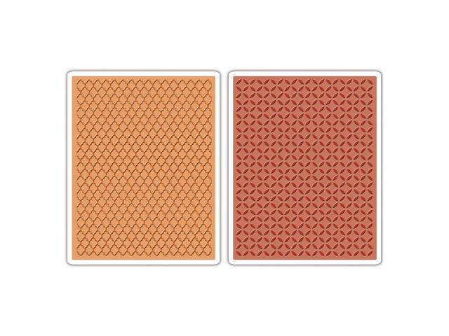 Sizzix Texture Fades A2 Embossing Folders 2/Pkg-Courtyard & Trellis By Tim Holtz