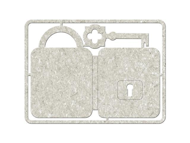 Die-Cut Gray Chipboard Embellishments-Lock & Key, 4