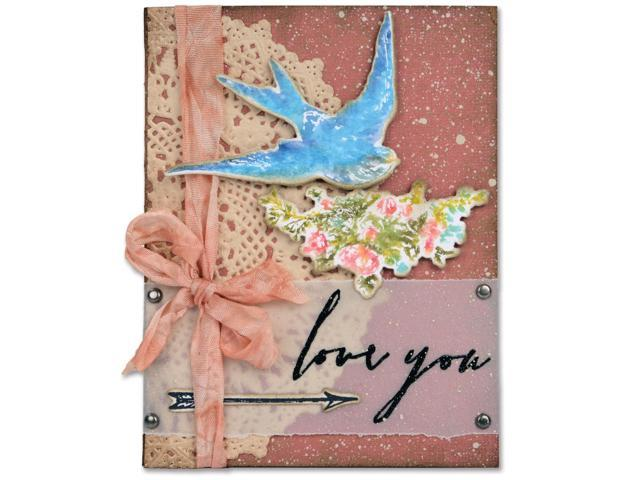 Sizzix Framelits Dies 4/Pkg W/Stamps By Tim Holtz-Love You By Tim Holtz