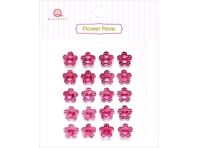 Flower Pave Adhesive Crystal Embellishments 20/Pkg-Pink