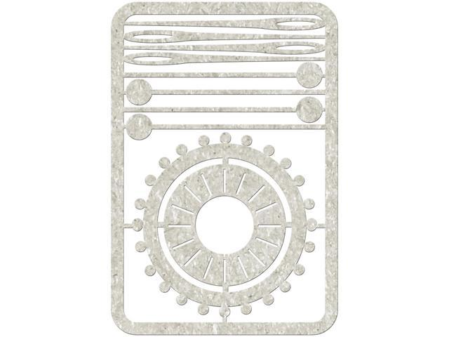 Die-Cut Gray Chipboard Embellishments-4 Pins, 4 Needles & Pin Wheel, 4.5