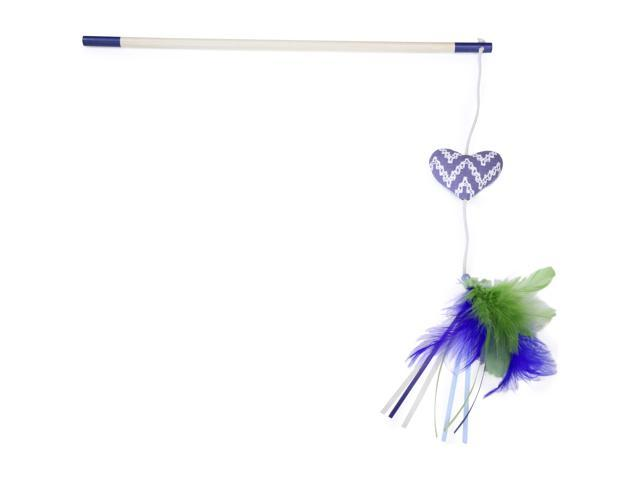 Loved Ones Catnip Heart Feather Bloom Cat Wand-Blue