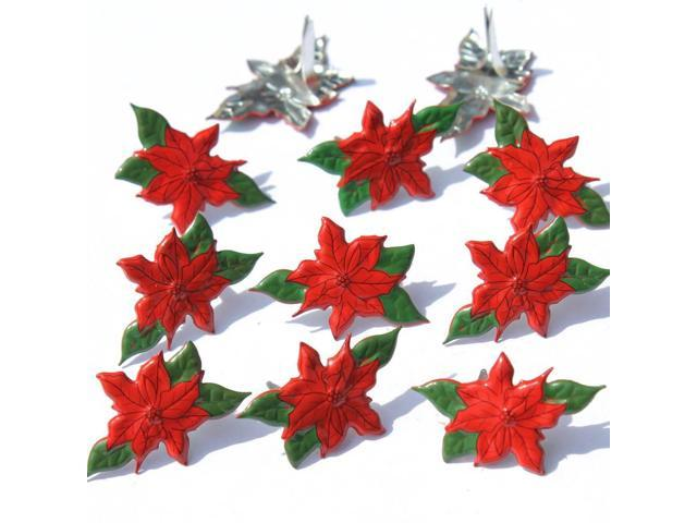 Eyelet Outlet Shape Brads 12/Pkg-Poinsettia