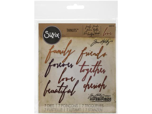 Sizzix Thinlits Dies 7/Pkg By Tim Holtz-Handwritten Love