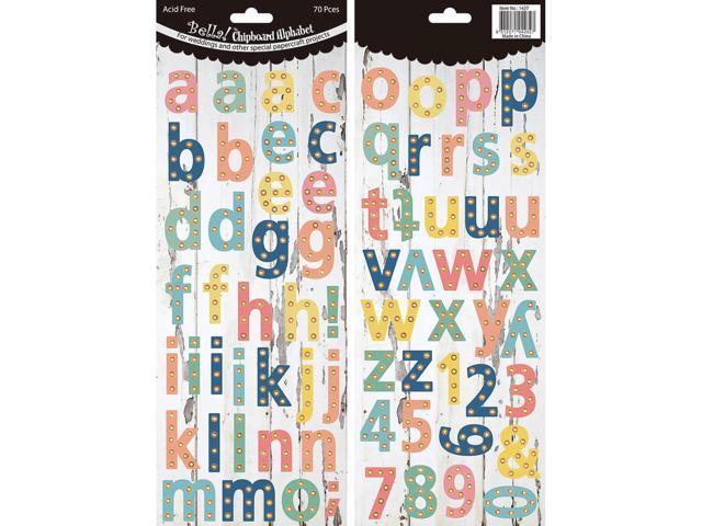 Bella! Wedding Chipboard Alphabet 70 Pieces-Pastel