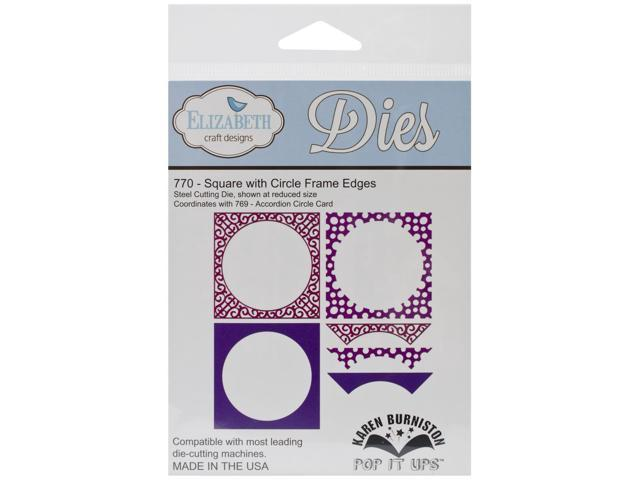 Elizabeth Craft Pop It Up Metal Dies By Karen Burniston-Square W/Circle Frame Edges