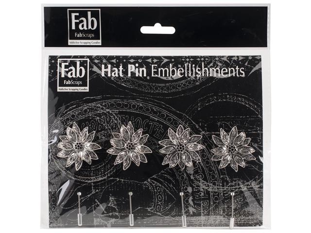 Silver Pin Embellishments 4/Pkg-Sunflower