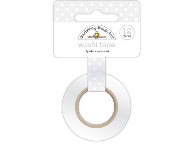 Washi Tape 15Mmx12yd-Lily White Swiss Dot