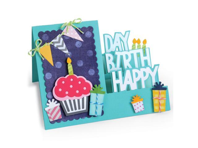 Sizzix Framelits Dies By Stephanie Barnard 20/Pkg -Step-Ups Happy Birthday