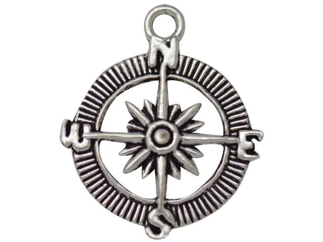 Silver Embellishments 20/Pkg-Compass #2