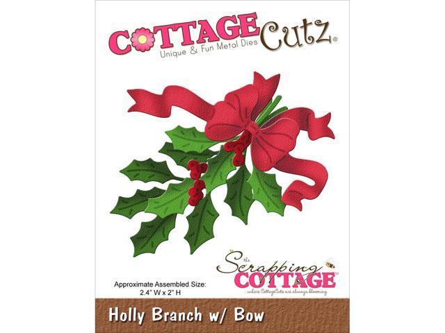 Cottagecutz Die-Holly Branch W/Bow