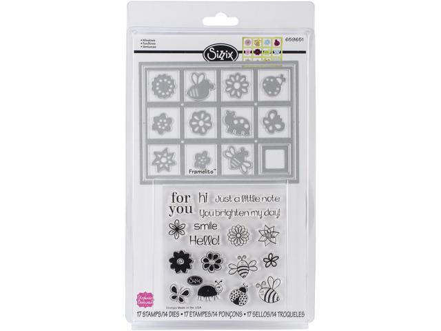 Sizzix Framelits Dies 14/Pkg W/Stamps By Stephanie Barnard-Windows