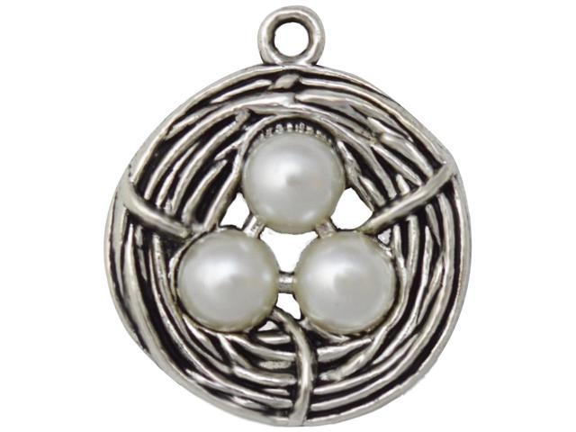 Silver Embellishments 10/Pkg-Bird Nest Small