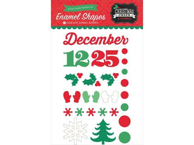 Christmas Cheer Adhesive Enamel Shapes 27/Pkg-