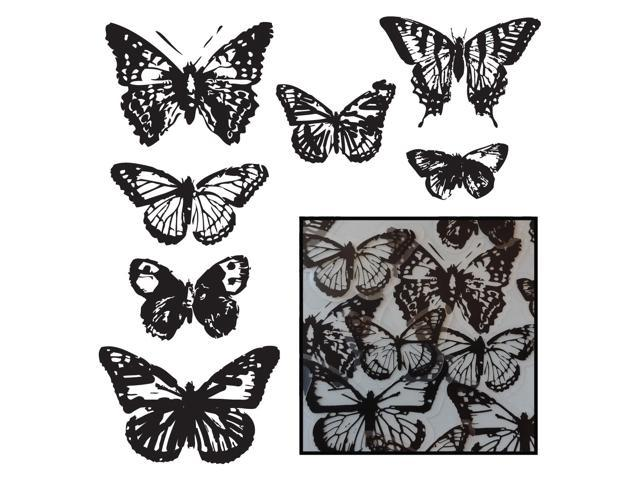 Transparencies Die-Cuts 14/Pkg-Vintage Butterfly 7 Styles/Black