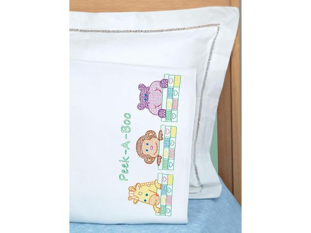 Jack Dempsey 1605 124 Children's Stamped Pillowcase With White Perle Edge 1/Pkg-Peek A Boo