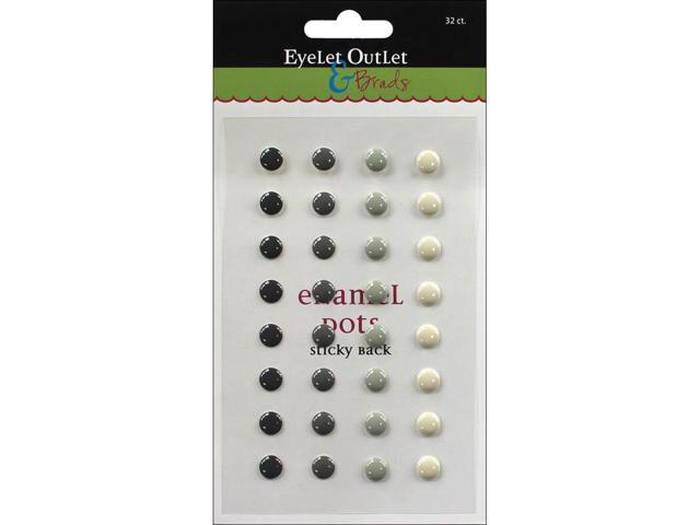 Eyelet Outlet Adhesive-Back Enamel Dots 32/Pkg-Gray