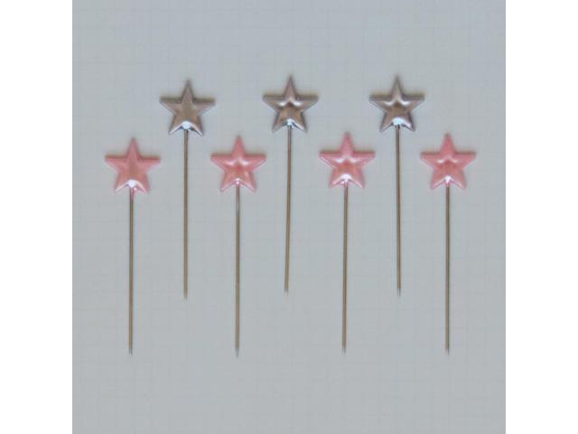 Trinket Pins 50/Pkg-Stars/Silver & Pink