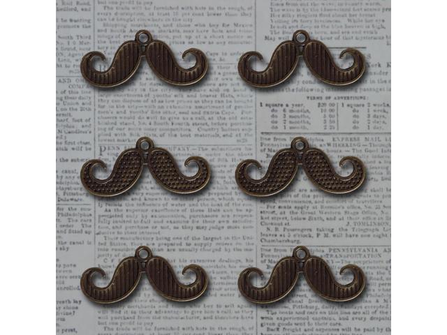 Vintage Metal Charms 6/Pkg-Bronze I Mustache You A Question 1.2
