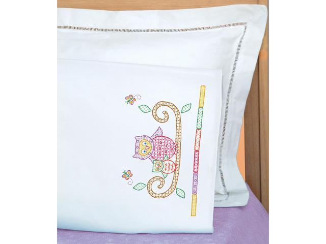 Jack Dempsey 1605 506 Children's Stamped Pillowcase With White Perle Edge 1/Pkg-Owls