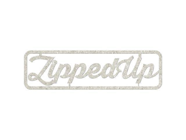 Die-Cut Gray Chipboard Word-Zipped Up, 6.5