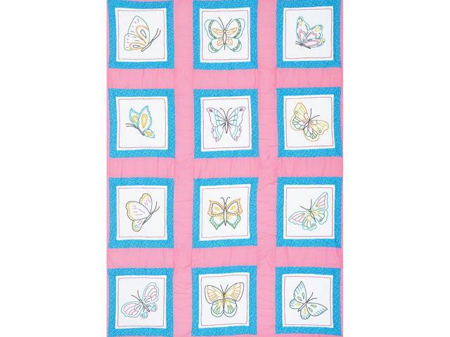 Jack Dempsey 737 571 Themed Stamped White Quilt Blocks 9''X9'' 12/Pkg-Butterflies