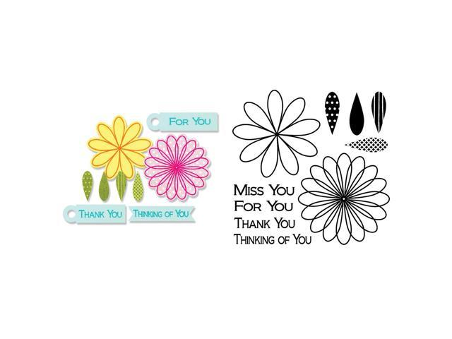 Sizzix Framelits Dies 10/Pkg W/Stamps-Flowers & Tags