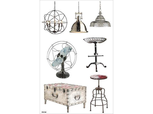 Industrial Chic Clear Stickers 8.25