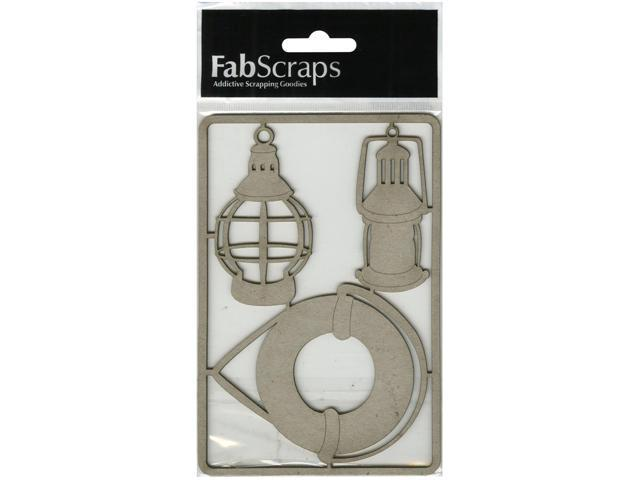 Die-Cut Gray Chipboard Embellishments-Lifesaver Tube & Lanterns
