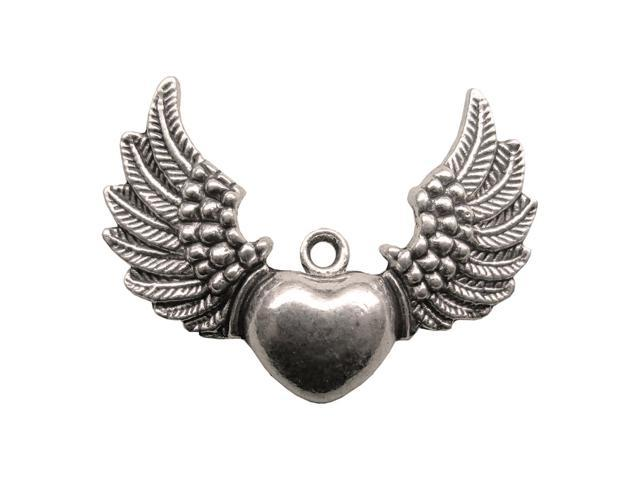 Silver Embellishments 15/Pkg-Heart Wings
