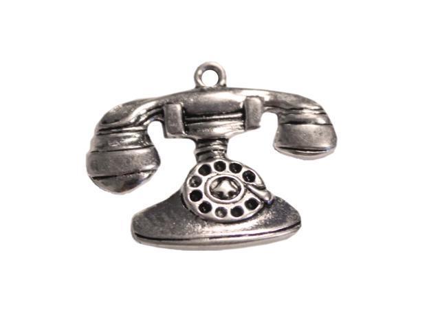 Silver Embellishments 15/Pkg-Vintage Telephone