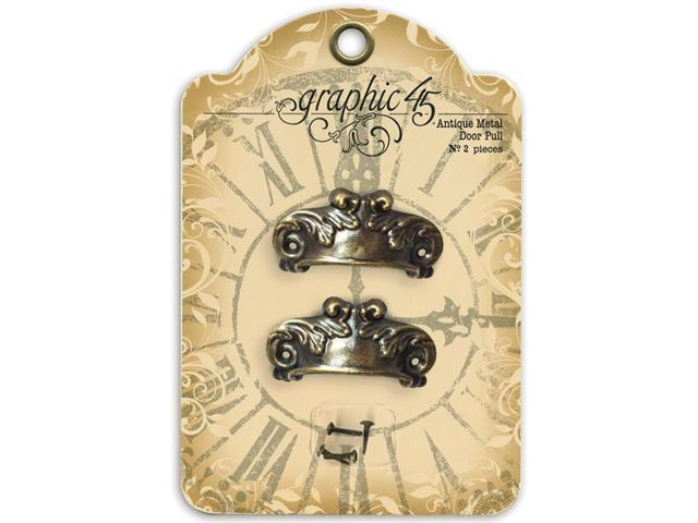 Staples Ornate Metal Door Pulls 2/Pkg-Shabby Chic With 4 Brads