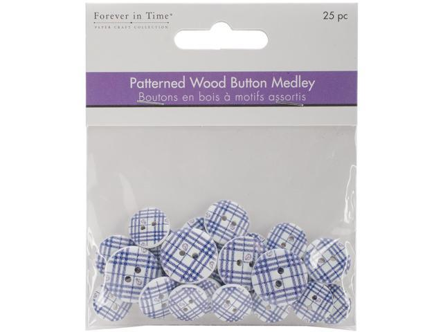 Patterned Wood Button Medley 25/Pkg-Blue Plaid