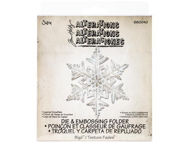 Sizzix Bigz Die W/A2 Texture Fades Folder By Tim Holtz-Layered Snowflake