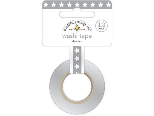 Washi Tape 8Mmx12yd-Silver Stars