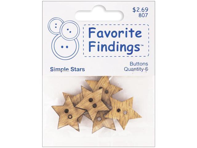 Favorite Findings Wood Buttons-Simple Stars 6/Pkg