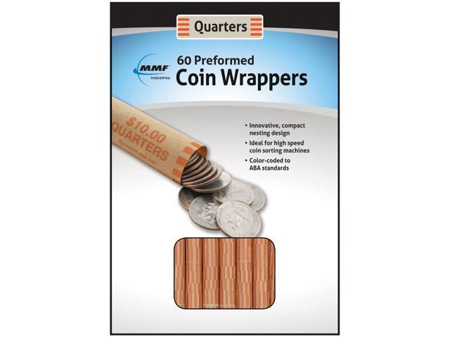 Nested Preformed Coin Wrappers 60/Pkg-Quarter