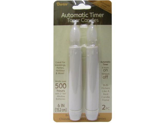 LED Taper Candles W/Timer 6