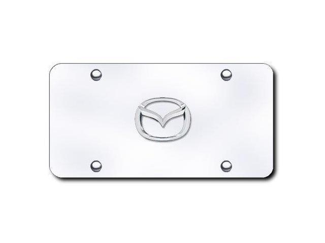 Auto Gold Maz2Cc Chrome On Chrome License Logo Plate, Mazda (New)
